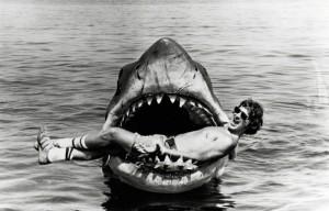 Steven Spielberg en el set de Jaws